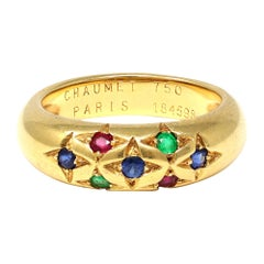 Signed Chaumet Paris Sapphire, Ruby, and Emerald Ring in 18k