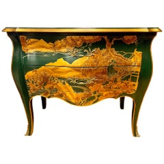 Signed Chinoiserie Green Lacquer and Gold Bombe Chest by John Widdicomb Dresser