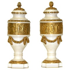 Signed Colin Paris Marble Gilt Bronze Cassolettes, circa 1860 Oil Tycoon's