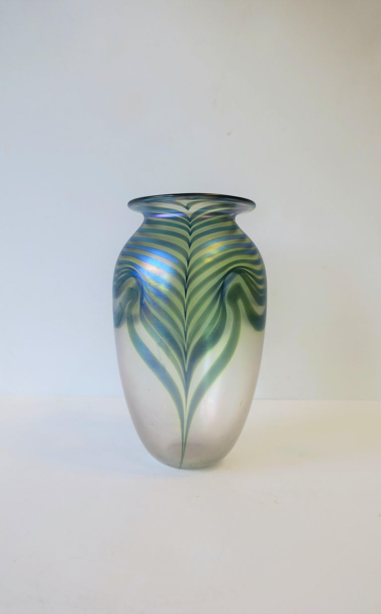 Signed Contemporary Art Glass Vase in the Art Nouveau Style, circa 1980s For Sale 5
