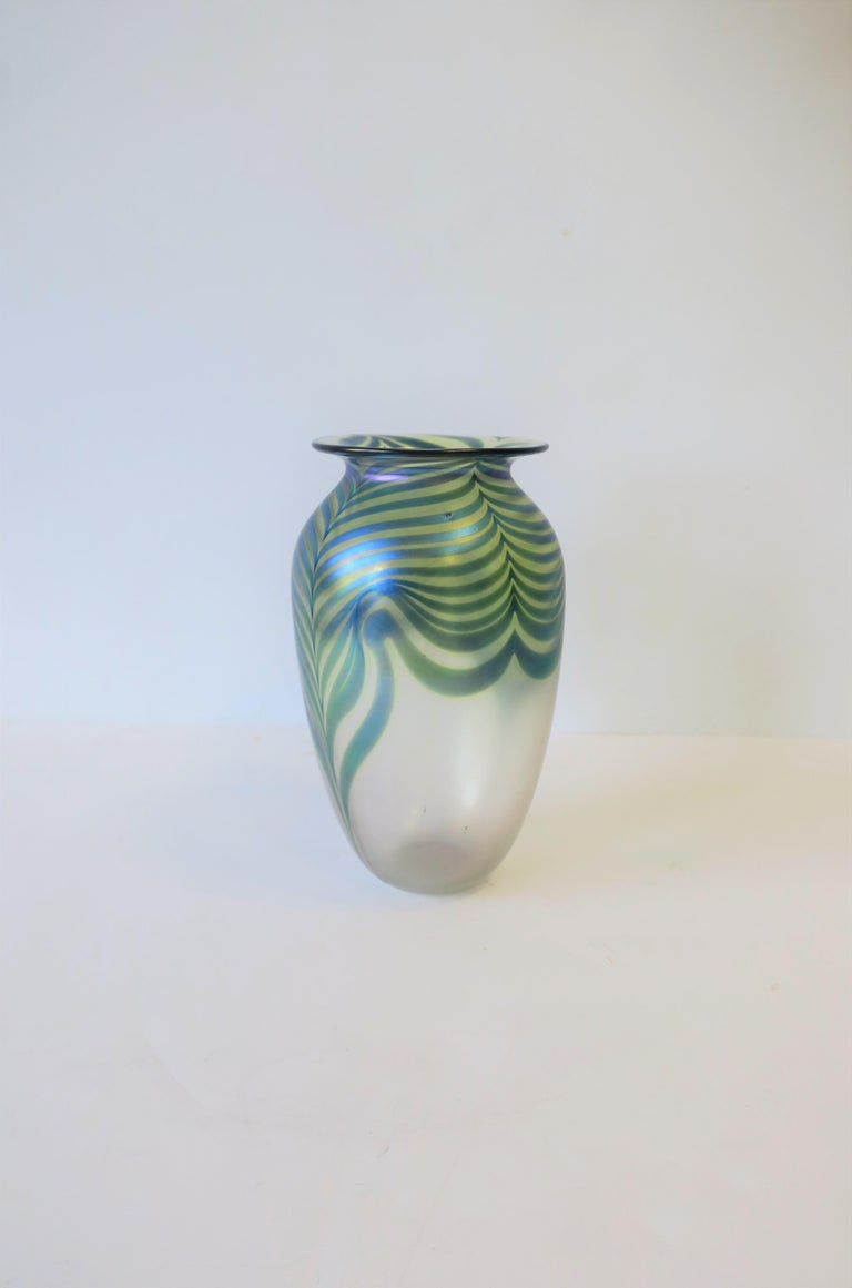 Signed Contemporary Art Glass Vase in the Art Nouveau Style, circa 1980s For Sale 6