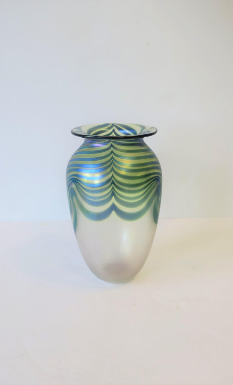 Signed Contemporary Art Glass Vase in the Art Nouveau Style, circa 1980s For Sale 7