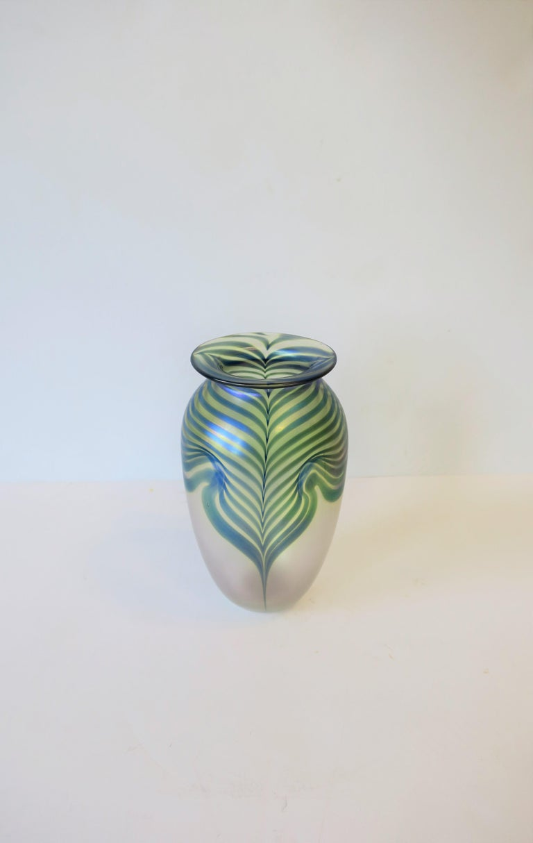 Signed Contemporary Art Glass Vase in the Art Nouveau Style, circa 1980s For Sale 9