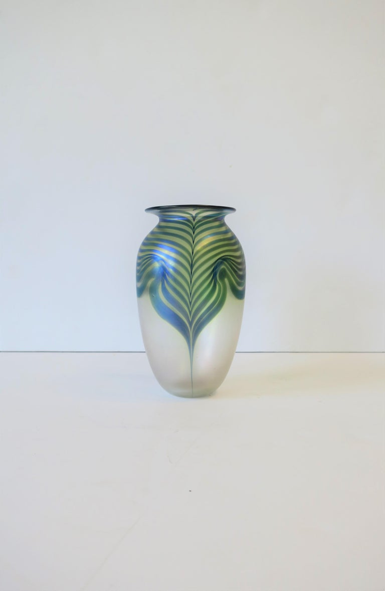Signed Contemporary Art Glass Vase in the Art Nouveau Style, circa 1980s For Sale 10