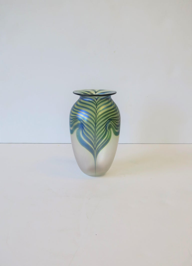 Signed Contemporary Art Glass Vase in the Art Nouveau Style, circa 1980s For Sale 11