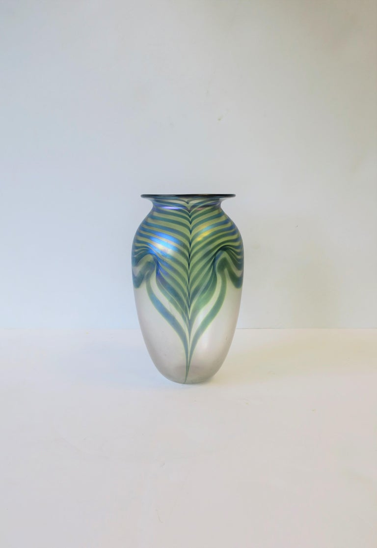 American Signed Contemporary Art Glass Vase in the Art Nouveau Style, circa 1980s For Sale