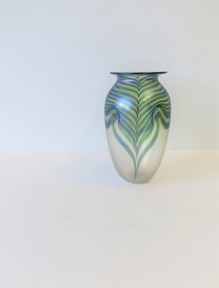 Signed Contemporary Art Glass Vase in the Art Nouveau Style, circa 1980s For Sale 3