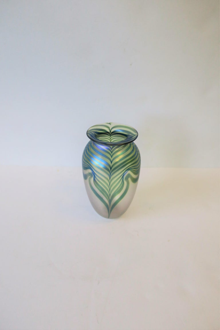 Signed Contemporary Art Glass Vase in the Art Nouveau Style, circa 1980s For Sale 4