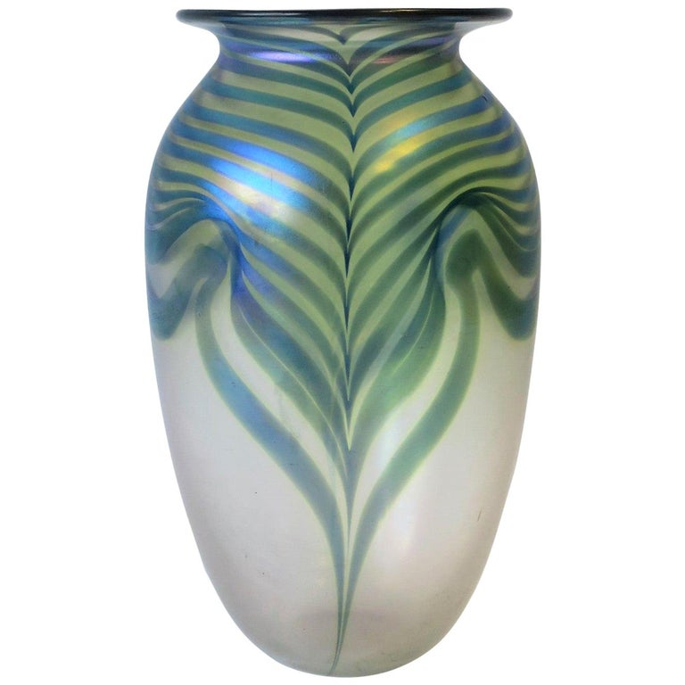 Signed Contemporary Art Glass Vase in the Art Nouveau Style, circa 1980s For Sale