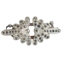 Signed Coro Duette Art Deco Silver and Marcasite Brooch and Dress Clip, 1940s
