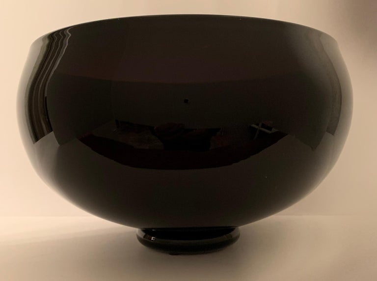 20th Century Signed Correia Art Glass Footed Bowl For Sale