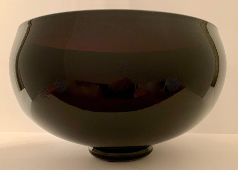 Signed Correia Art Glass Footed Bowl For Sale 1