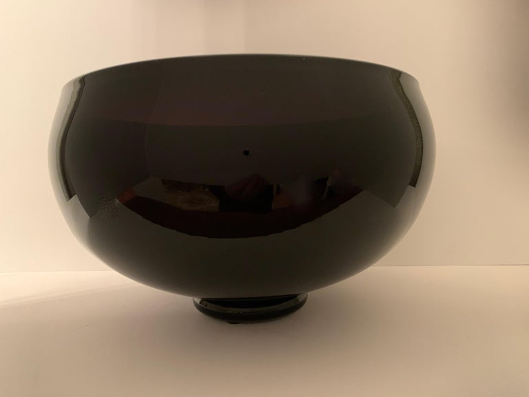Signed Correia Art Glass Footed Bowl For Sale 2