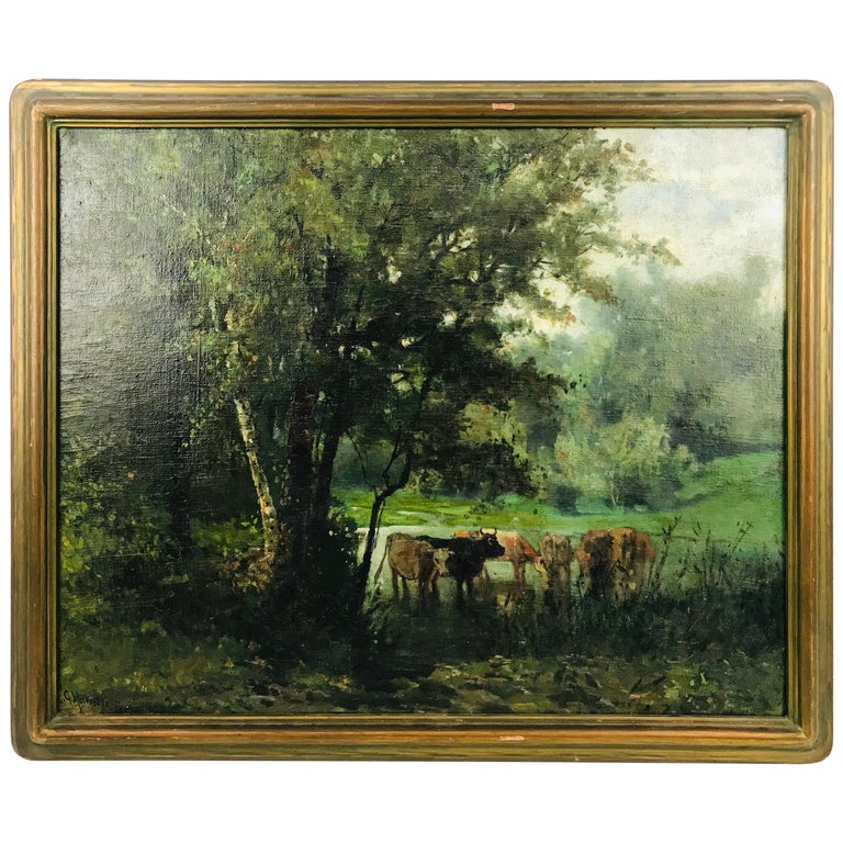 """Signed """"Cows with Water and Landscape"""" Oil on Canvas by Ransome Gillet Holdridge For Sale"""