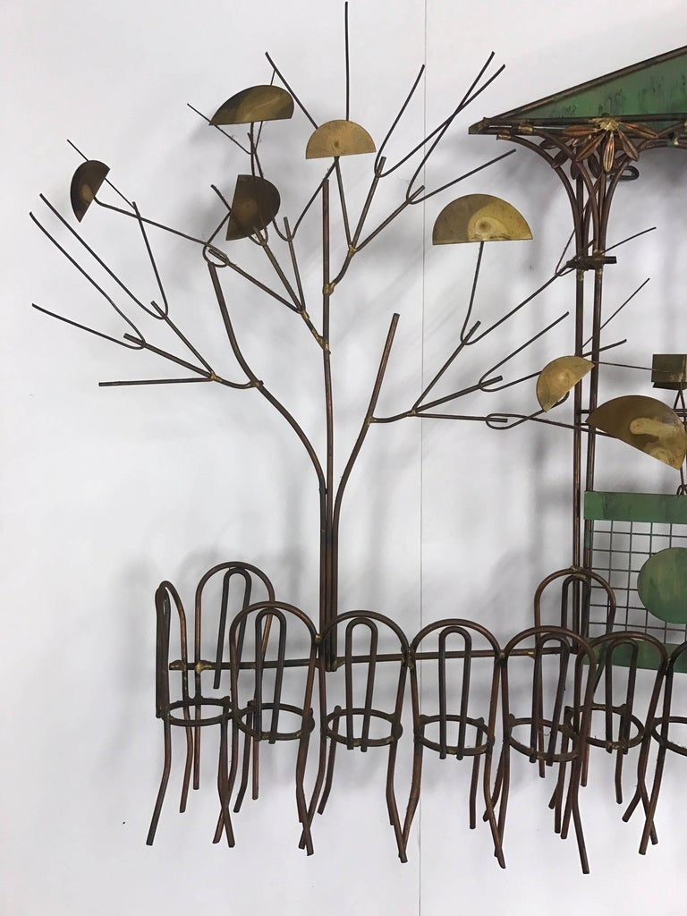 American Signed Curtis Jere the Bandstand Pagoda Gazebo Wall Sculpture For Sale