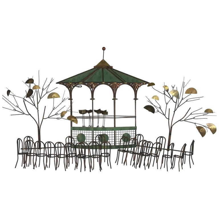 Signed Curtis Jere the Bandstand Pagoda Gazebo Wall Sculpture For Sale