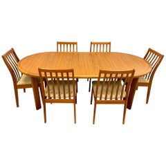Signed Danish Modern Vamdrup Stolefabrik Dining Room Set Table and Six Chairs
