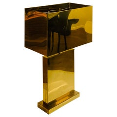 Signed & Dated C. Jere Architectural Brass Table Lamp with Brass Shade