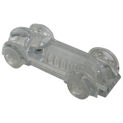 Signed Daum France, Crystal Sculpture of Vintage Race Car in Limited Edition