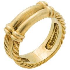 Signed David Yurman 18 Karat Yellow Gold Cable Twist Band Ring