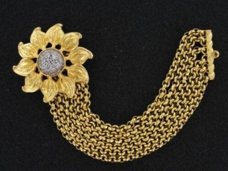 Modernist Signed Deanna Hamro Designer Vintage Sunflower Golden Multi Chain Bracelet For Sale