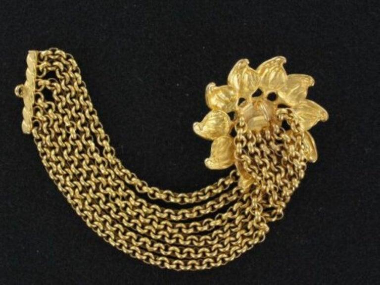 Round Cut Signed Deanna Hamro Designer Vintage Sunflower Golden Multi Chain Bracelet For Sale