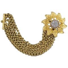 Signed Deanna Hamro Designer Vintage Sunflower Golden Multi Chain Bracelet