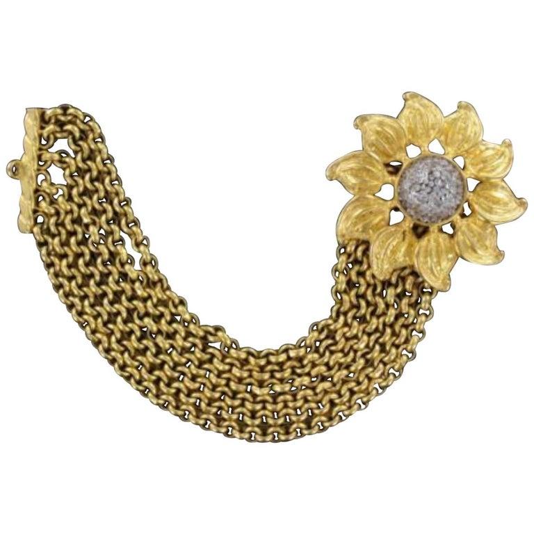 Signed Deanna Hamro Designer Vintage Sunflower Golden Multi Chain Bracelet For Sale