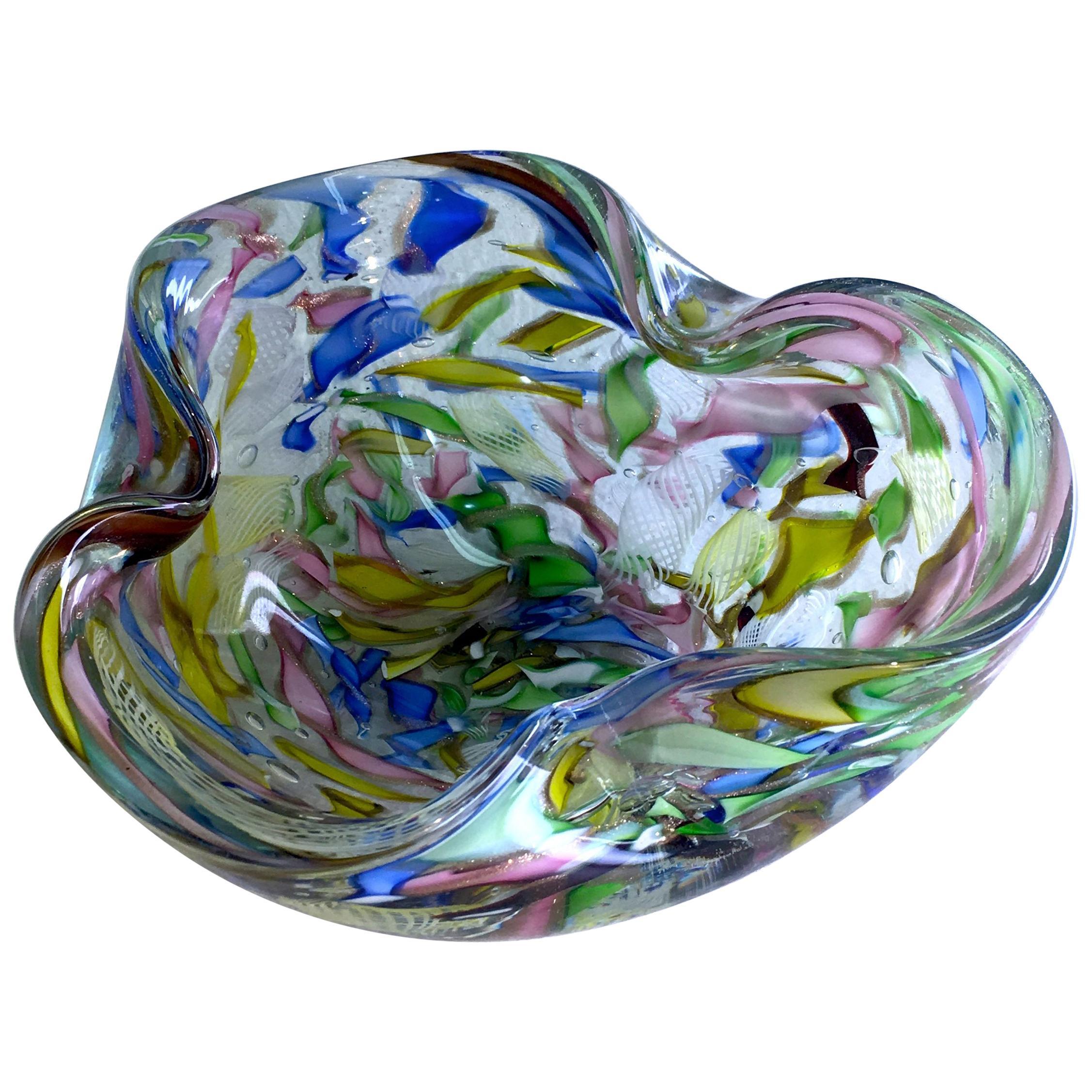 Signed Decorative Folded Art Glass Bowl by AVeM Italy, 1950