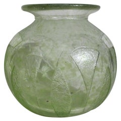 Signed Degaus Art Deco French Green Tinted and Acid Etched Art Glass Vase