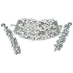Signed Designer NOIR Sparkling Ice Crystal Bracelet and Earrings