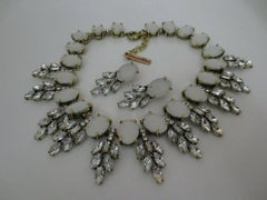 Signed Designer Oscar de la Renta Opaque and Crystal Necklace and Earrings