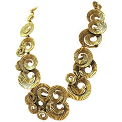 Signed Designer Oscar De La Renta Statement Golden Link Necklace