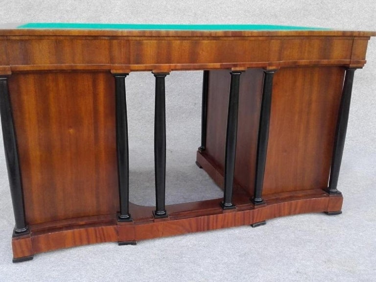 We present very good condition, elegant and functional signed desk Biedermeier brothers Ligezów from Cracow (Biedermeier was a style in the art, literature , music and interior design which developed in Central Europe, mainly in Germany and