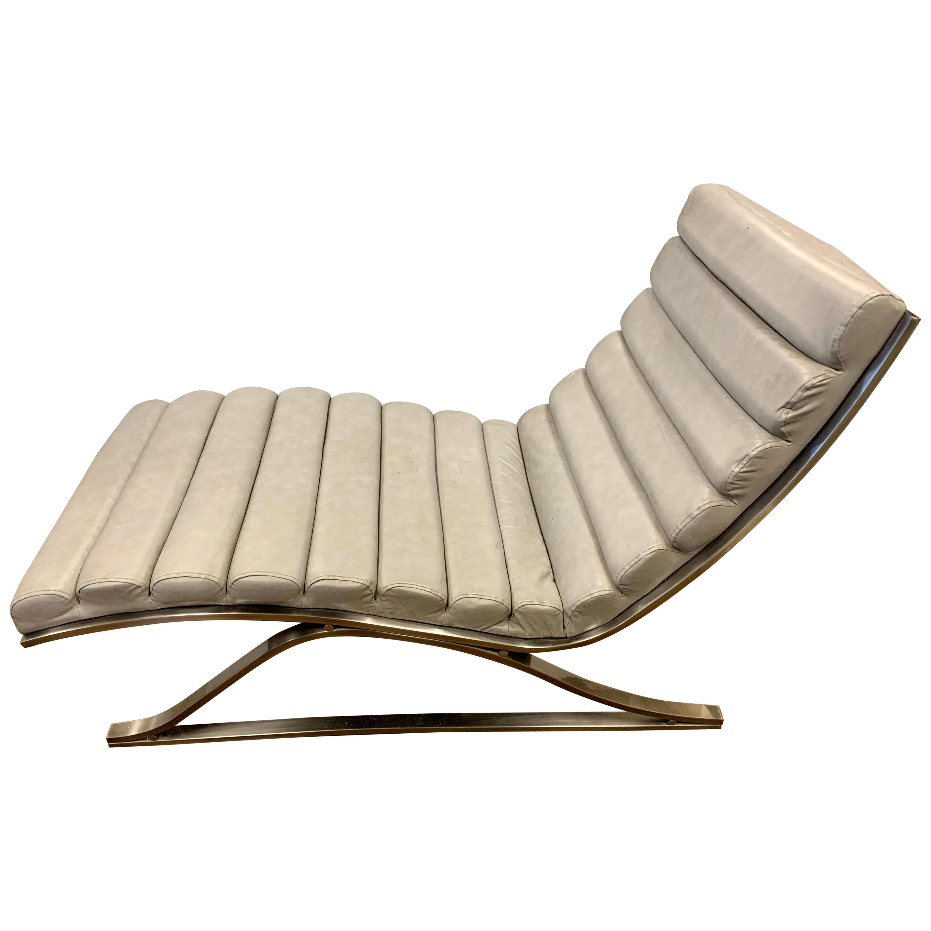 Signed DIA Design Institute America Leather Channel Back Chaise