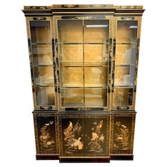Signed Drexel Chinoiserie Breakfront China Cabinet Japanned Black Lacquer