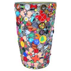 Signed DV 1991 Folk Art Bucket, Basket, Waste Basket
