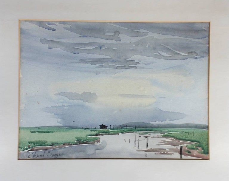 A watercolor by Edward Seago RWS, RBA (1910-1974).  Signed lower left and in its original painted frame. When taking it out of the frame, it has the recipients details in pencil on the reverse of the paper.  Measures: 37cm wide x 27cm high