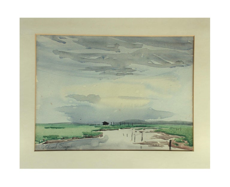 A watercolor by Edward Seago RWS, RBA, (1910-1974).  Signed lower left and in its original painted frame. When taking it out of the frame, it has the recipients details in pencil on the reverse of the paper.  Measures: 37 cm wide x 27 cm high
