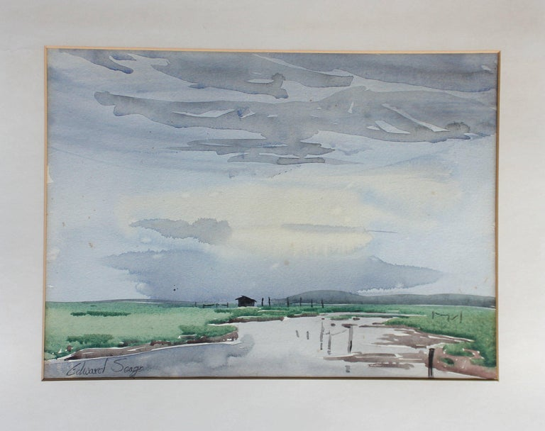 British Signed Edward Seago Watercolor of a Norfolk Landscape