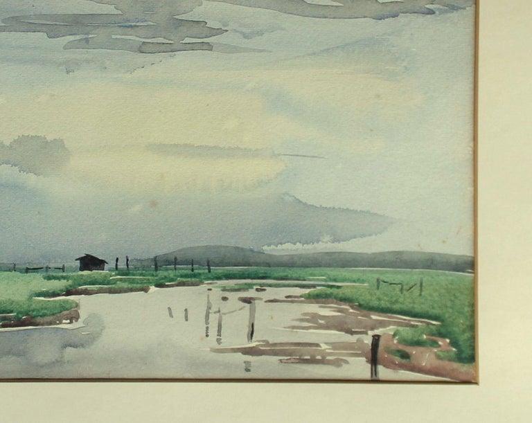 British Signed Edward Seago Watercolor of a Norfolk Landscape