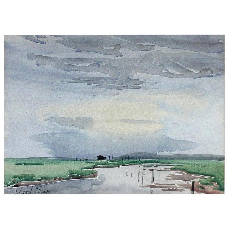 Signed Edward Seago Watercolor of a Norfolk Landscape