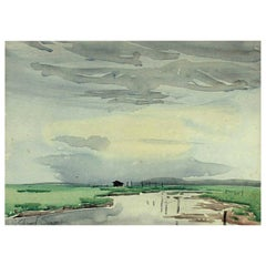 Signed Edward Seago Watercolor of a Norfolk Landscape