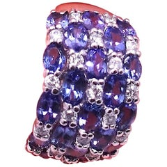 Signed Effy 14kt White Gold With Tanzanite & Diamonds Ring