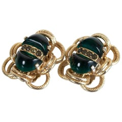Signed Eisenberg Gold and Emerald Green Glass Cabochon Scarab Earrings, 1960s