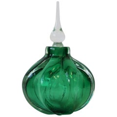 Emerald Green Art Glass Perfume Vanity Bottle, Signed