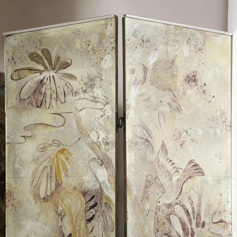 Signed Emrich Nicholson Hand Painted Mirrored Screen Estate of Arthur Rubinstein For Sale 4