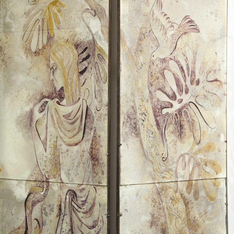 Signed Emrich Nicholson Hand Painted Mirrored Screen Estate of Arthur Rubinstein For Sale 5