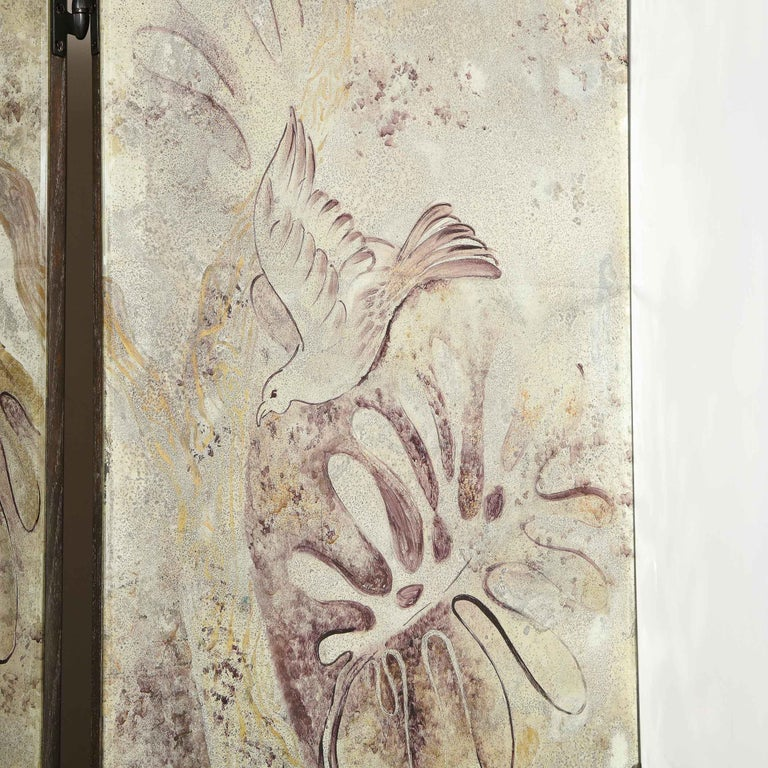 Signed Emrich Nicholson Hand Painted Mirrored Screen Estate of Arthur Rubinstein For Sale 8