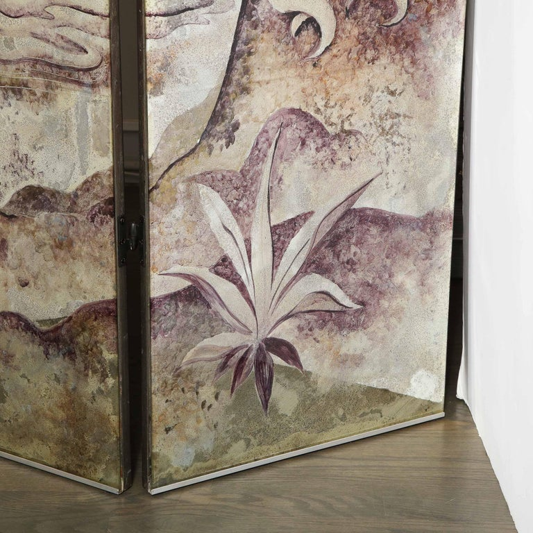 Signed Emrich Nicholson Hand Painted Mirrored Screen Estate of Arthur Rubinstein For Sale 9